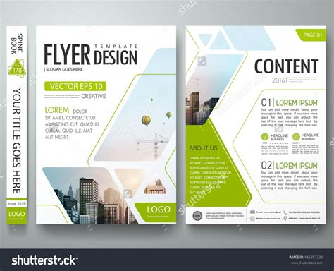Book Report Brochure Template by Brochure Design Template Vector Green Abstract Square