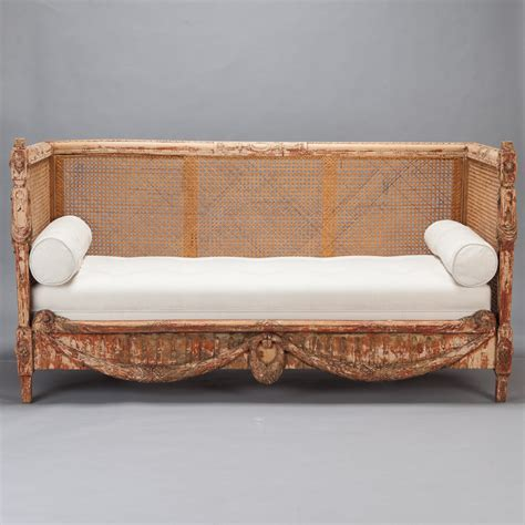 swedish settee 19th century swedish settee with carved base and caned
