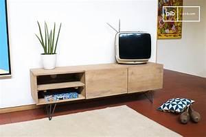 Meuble TV En Bois Zurich Bois Clair Et Esprit Rtro Pib