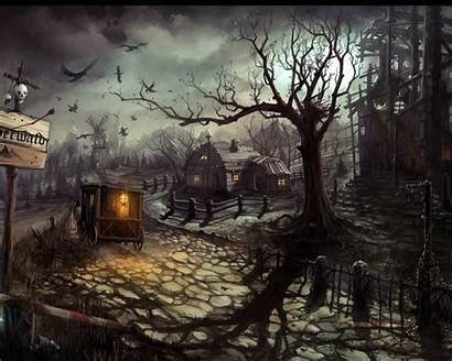 Gothic Dark Forest Secret Houses Wallpapers Architecture