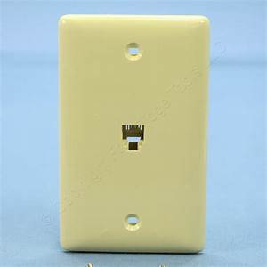 New Hubbell Netselect Ivory Molded In Telephone Jack Wall