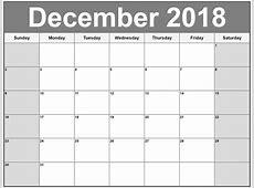 December 2018 Calendar Template Printable 2018 Calendar