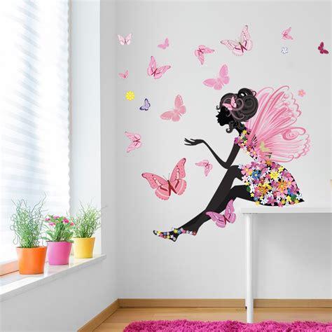 flower wall sticker butterfly wall decal room nursery decor