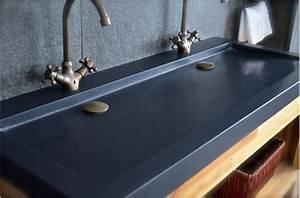 double vasques en granit noir yate shadow a poser 120x50 With salle de bain design avec double vasque en pierre naturelle