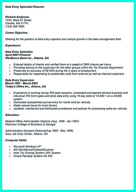 Resume Data Entry Clerk by Pin On Resume Sle Template And Format