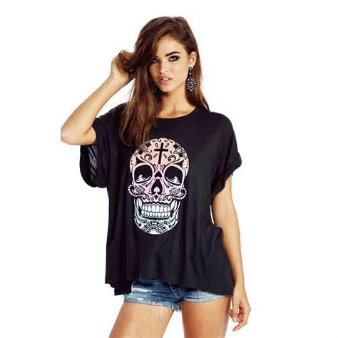 Loose tee shirt women shirt print skull short sleeve o ...