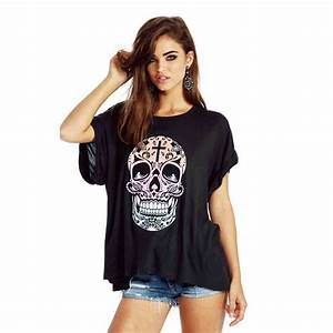Loose tee shirt women shirt print skull short sleeve o neck women clothing free shipping-in T ...