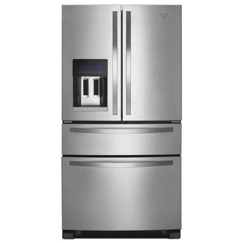 stainless steel door refrigerator shop whirlpool 24 7 cu ft 4 door door refrigerator