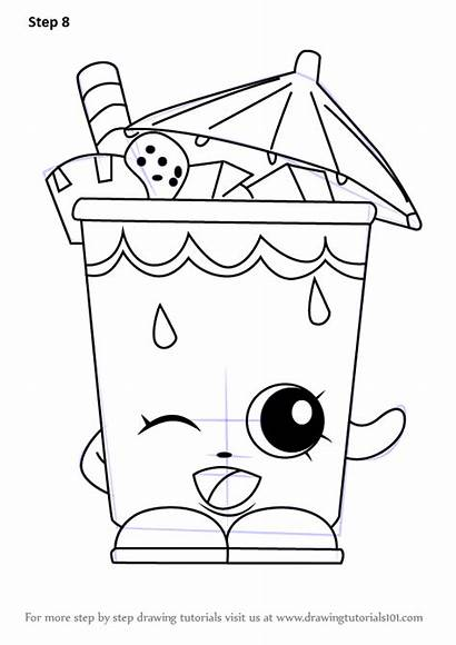Shopkins Coloring Draw Pages Drawing Sipper Step