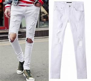 Ripped White Jeans Mens | Bbg Clothing