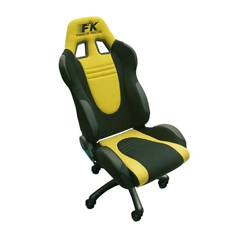 fk automotive racecar black yellow racing office chair