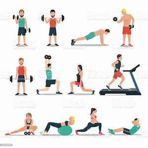 Men And Women Workout Set Isolated On White Background Cardio Weightlifting Treadmill