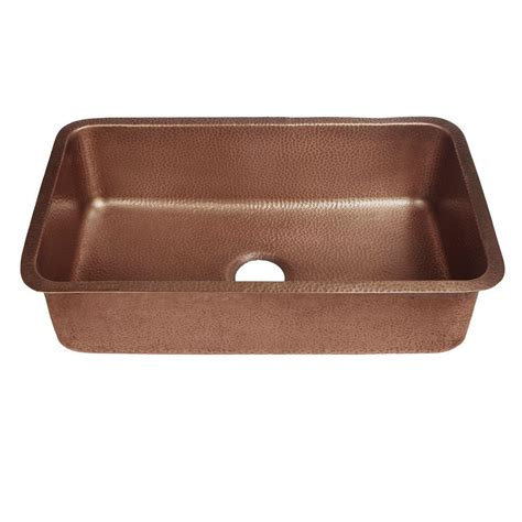 copper undermount kitchen sinks sinkology orwell undermount handmade solid copper 30 in 5807