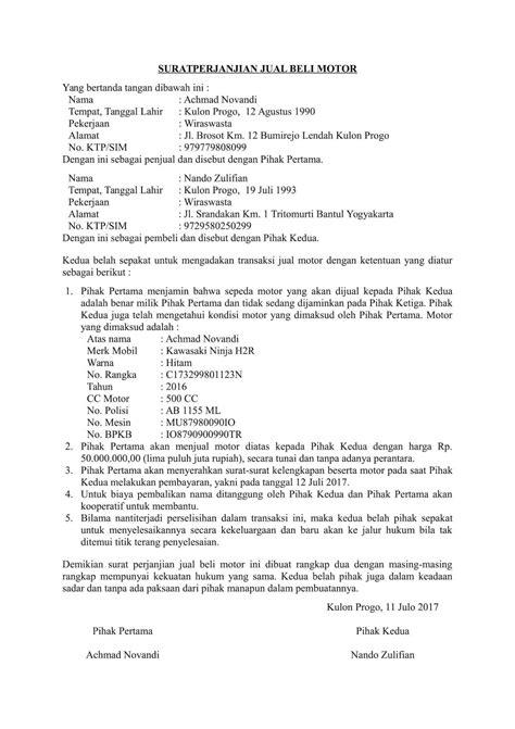 7+ Contoh Surat Perjanjian Jual Beli Yang Benar 2018 - ContohSuratin.com