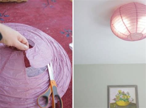 diy flush mounted paper ceiling shade decor