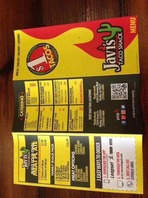 menu  javis taco shack restaurant visalia