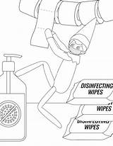 Elf Coloring Shelf Pages Printable Mask Mom Disinfecting Wipes Hand sketch template