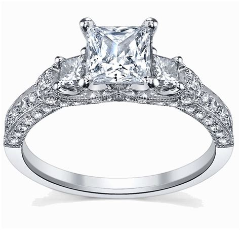 glamorous antique engagement ring  carat princess cut