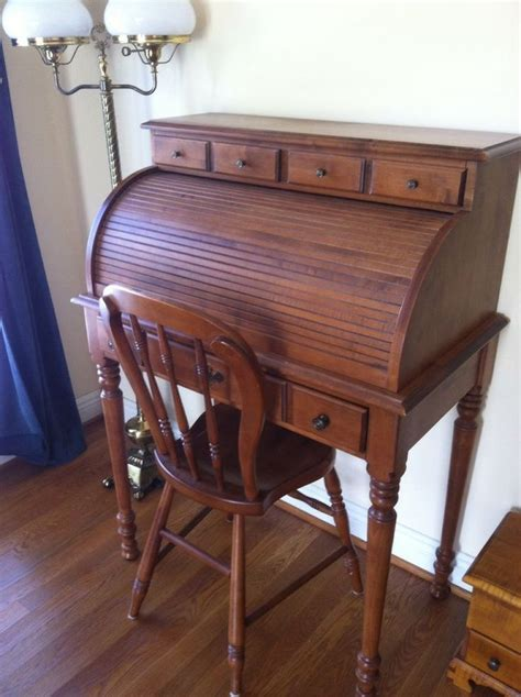 vintage tell city maple roll top desk and farmhouse chair