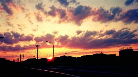 Anime Sunset Wallpaper - sky anime sun sunset clouds amazing beautiful wallpaper