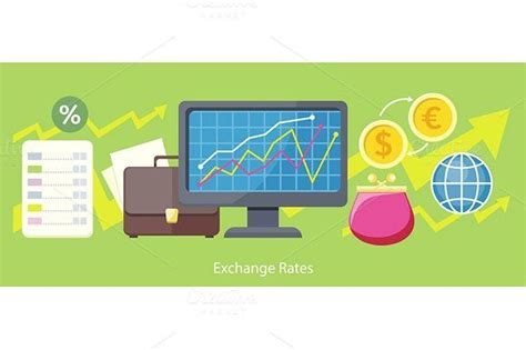 exchange rates design flat concept  images
