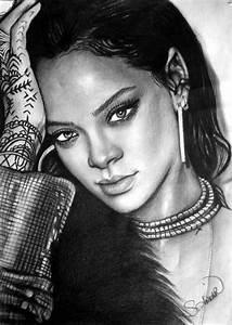 Charcoal Drawing Rihanna | My Drawing Collection ...