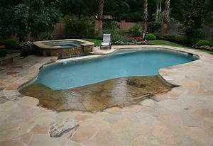 backyard swimming pool with beach entry and fire pit With beach entry swimming pool designs