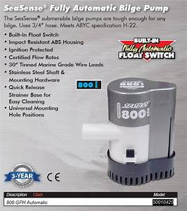 Auto Bilge Pump  800 Gph 50010425