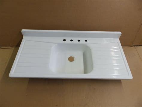 vtg mid century steel white porcelain double drainboard