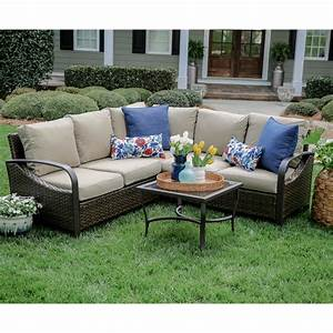trenton 4 piece wicker outdoor sectional set with tan With home depot sectional sofa outdoor