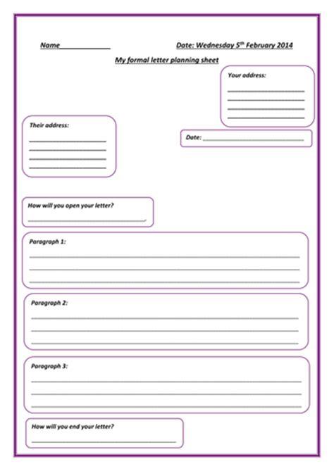 formal letter planning sheet  littledreamer teaching