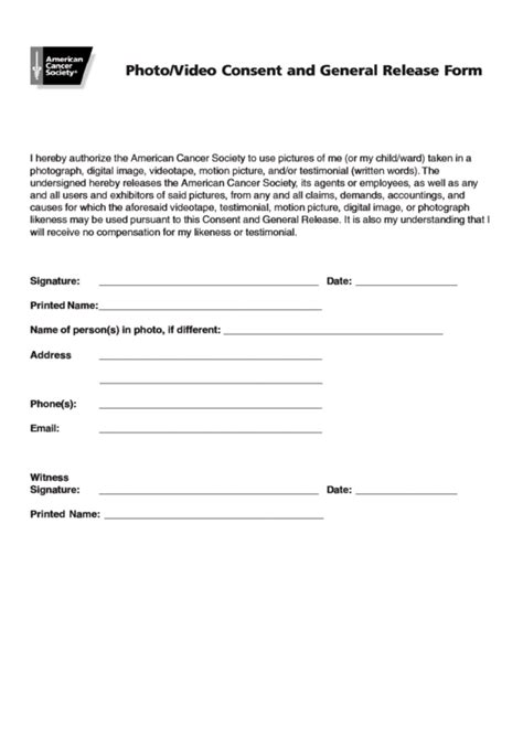 photovideo consent  general release form printable