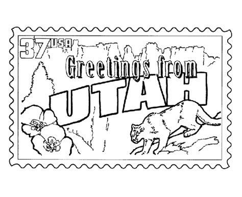Utah State Stamp Coloring Page