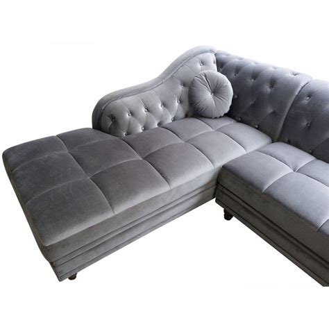canape chesterfield en velours canap 233 d angle chesterfield en velours gris argent gauche pas cher d 233 co