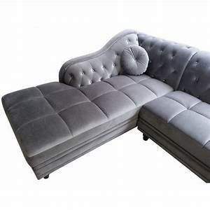 canape d39angle chesterfield en velours gris argent gauche With canapé d angle velours