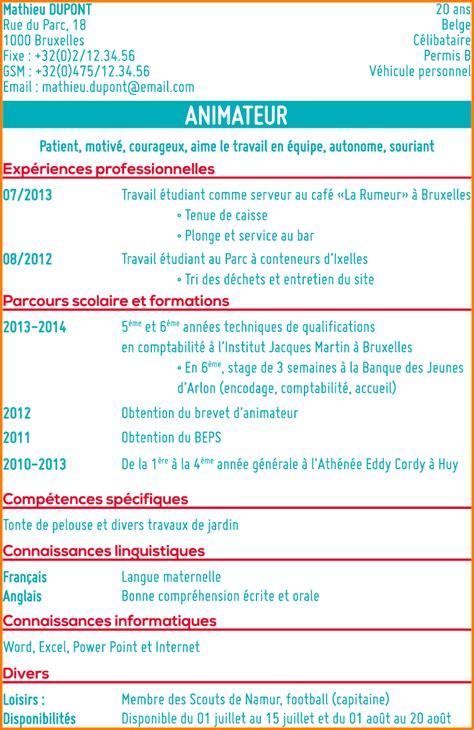 Exemple Cv étudiant by Cv Etudiant D Ete Exemple