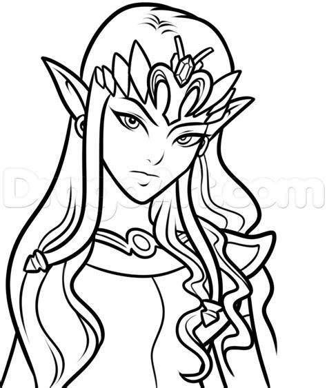 drawing princess zelda easy step  step video game