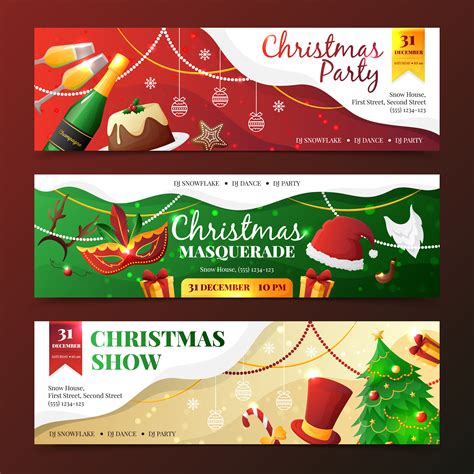 Christmas Party Invitation Banners Download Free Vectors