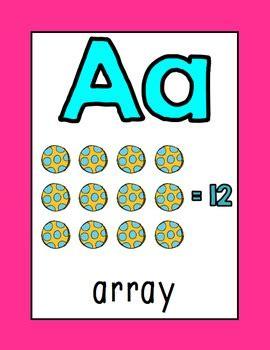 math alphabet posters math vocabulary bright rainbow tpt