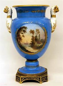 A, Pair, Of, Late, 19th, Century, Gilt, Bronze, And, Sky, Blue, S, U00e8vres, Style, Porcelain, Vases