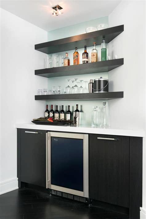 Bar Wall Shelves by This Modern Bar Features Floating Corner Shelves And A