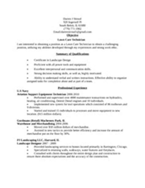 lawn care technician resume darren j stroud 920