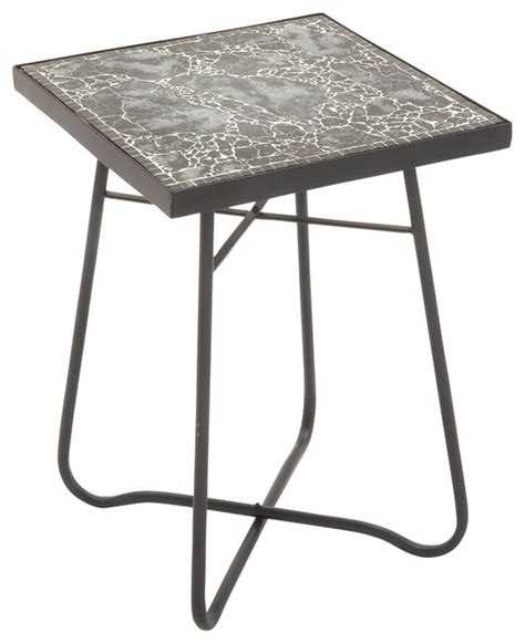 metal glass square black side table eclectic outdoor