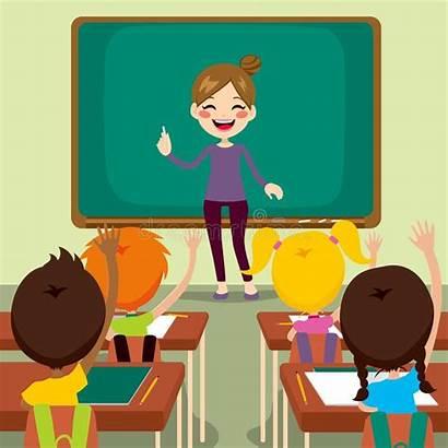 Teacher Classroom Happy Children Cartoon Standing Young