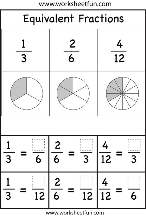 equivalent fractions worksheets printable worksheets