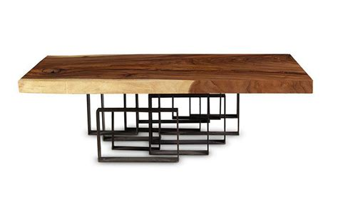 """Well you're in luck, because here they come. 55"""" L Coffee table thick solid acacia wood slab black iron ..."""