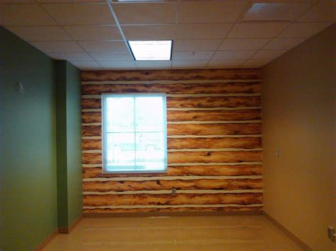 faux log cabin walls faux log cabin wall acrylic on base of painted concrete
