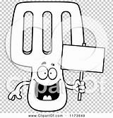 Spatula Coloring Mascot Holding Happy Sign Outlined Clipart Cartoon Vector Cory Thoman sketch template
