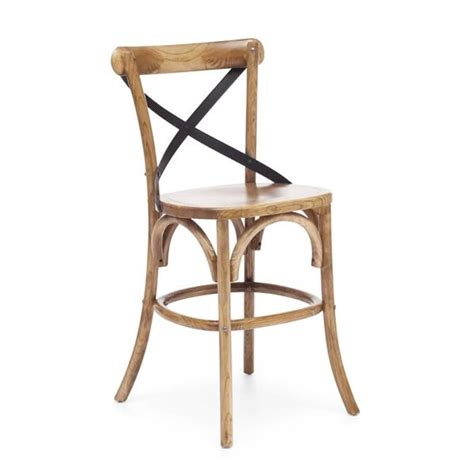 wood and metal x back chair