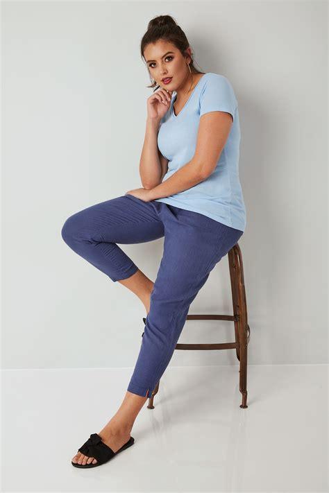 Blaue Pullon Leinenhose Mit Schmal Zulaufendem Bein
